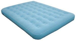 Queen Velour Air Bed Flocked Top Inflatable Mat Mattress Camp Home Spare Bed