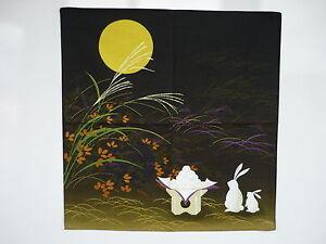 Japanese-wrapping-cloth-FUROSHIKI-moon-amp-rabbit-A-kimono-obi-yukata-tapestry