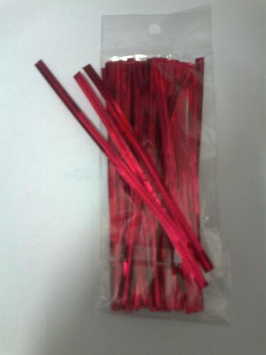 """50 x 190mm 7.5/"""" PINK PLASTIC LOLLIPOP STICKS CAKE POP KIT BAGS TWISTTIES"""