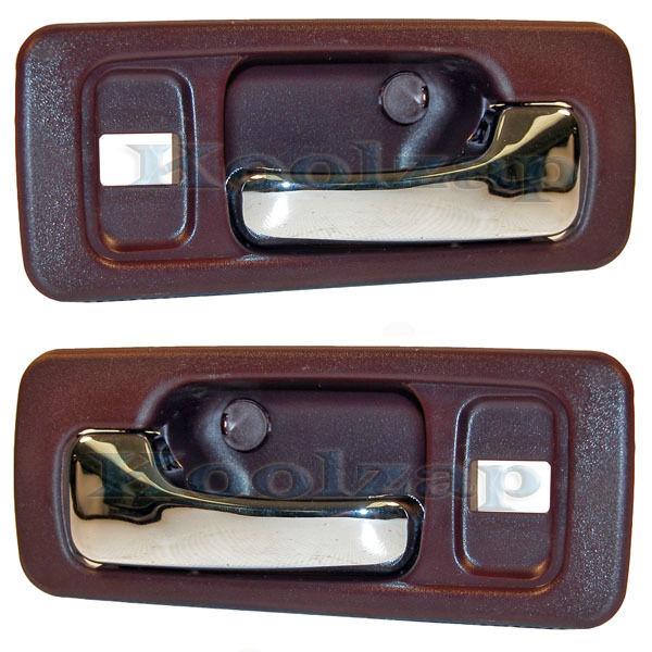 90-93 Accord Red Inside Inner Interior Door Handle Left & Right Side SET PAIR x2