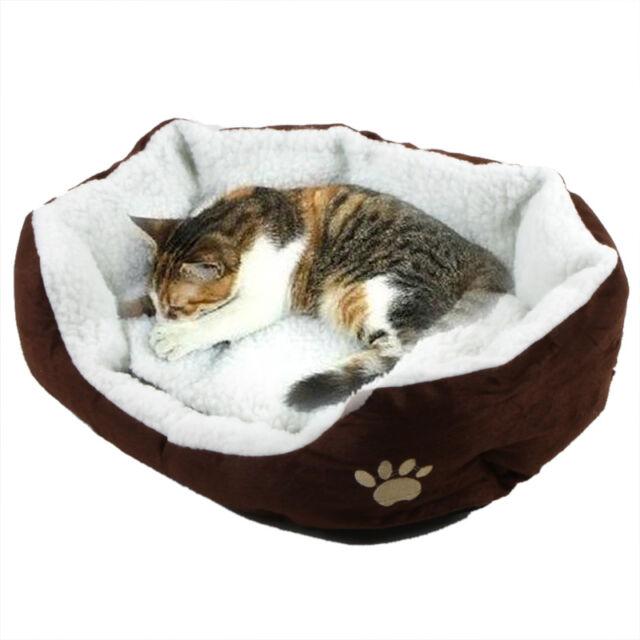 Pet Dog Nest Puppy Cat Soft Bed Fleece Warm House Kennel Plush Mat Coffee