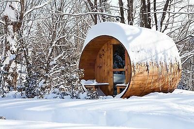 8 feet Outdoor Barrel Sauna,Canadian Pine,Front Porch,Electric Stove, fits 4+2