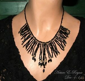 Artisan Arturo E.Reyna Black Vintage Czech Glass Beads Art Wire Bib/Necklace