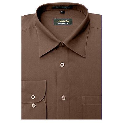 Mens Dress Shirt Plain Brown Modern Fit Wrinkle-Free Cotton Blend Amanti