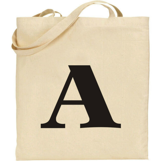 Alphabet Initial Letter A-Z Personalised Natural Cotton Beige Tote Shopping Bag