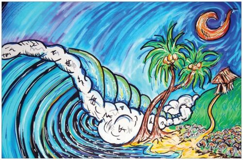 Poster Surf Art Palmetto State ocean waves surfing Drew Brophy inspired surfer