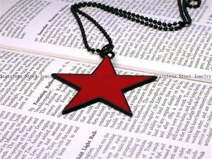 Fashion-Jewelry-Star-Pendant-Chain-Necklace-Red-Dog-Tag-Mens-Charm-Choker-N030