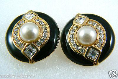 Swarovski Crystal Clear gold tone Black Enamel White pearl faux clips earrings