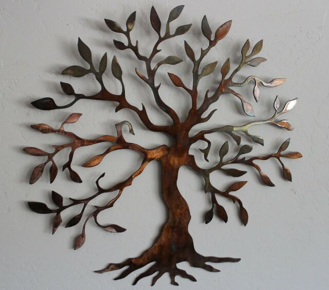 "Olive Tree --Tree of Live Metal Wall Art Decor Small 14"" Version"