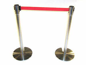 LG-18D-Stainless-Steel-Stretch-Barriers-with-Red-Webbing-2-meters-long