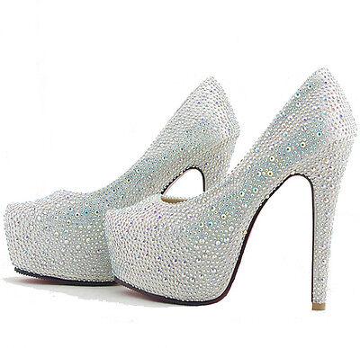 Silver Wedding Shoes Glitter Diamonds Platform Prom High Heels