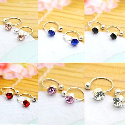 Fashion Clear Sparkling Rhinestone U CLIP ON Ear Cuff Earrings Studs No Piercing