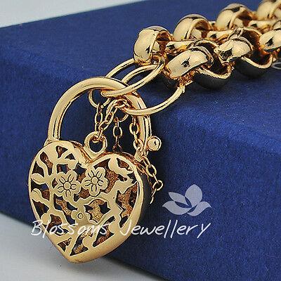 18K 18CT GOLD GF Heart PADLOCK Charm BRACELET Belcher Ring CHAIN Ladies S728G