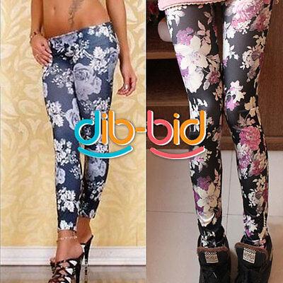 Women Rose Flower Print Graffiti Soft Stretch Leggings Tights Pants #02 SSUS