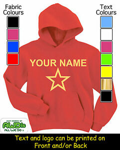 STAR-SHAPE-KIDS-PERSONALISED-HOODIE-HOODIES-GREAT-GIFT-FOR-A-CHILD-amp-NAMED