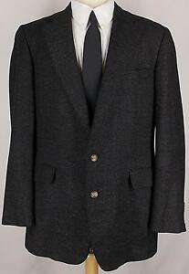 42L-Corbin-100-WOOL-BLACK-GRAY-HERRINGBONE-sport-coat-jacket-suit-blazer-men