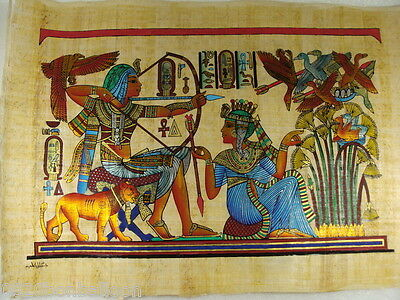"Mena Hunting Birds With Queen Original Hand Painted Papyrus 16""X24""(40x60 Cm)"