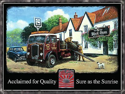 Vintage Albion Truck Classic Lorry Wagon Pub Beer Old Car Small Metal/Tin Sign