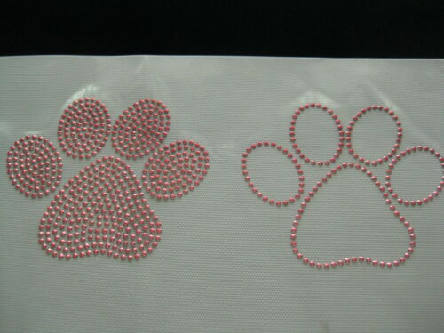 2 big paws rhinestone iron on transfer each 5 by 4 inches CHOOSE COLOR