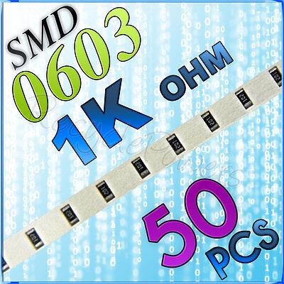 50 1K ohm ohms SMD 0603 Chip Resistors Surface Mount watts (+/-)5%