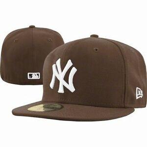 New-Era-5950-New-York-Yankees-NY-WHITE-on-BROWN-MLB-Baseball-Cap-Hat