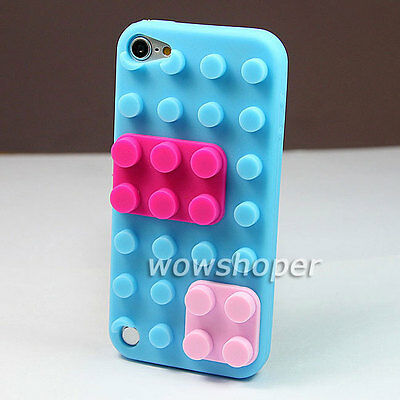 Building Block Silicone Skin Case Cover For IPOD TOUCH 5 5g 5TH GEN Sky Blue