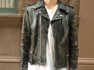 Stunning-Vintage-Black-Leather-Motorcycle-Jacket-38R-AMF-Harley-Davidson