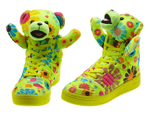 Adidas OBYO JS Jeremy Scott Multi Teddy Bear UK 4.5 US 5 37 1/3 Slim green panda