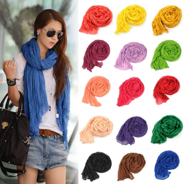 Girl Women's Large Cotton Linen Long Crinkle Scarf Wraps Shawl Colorful Candy
