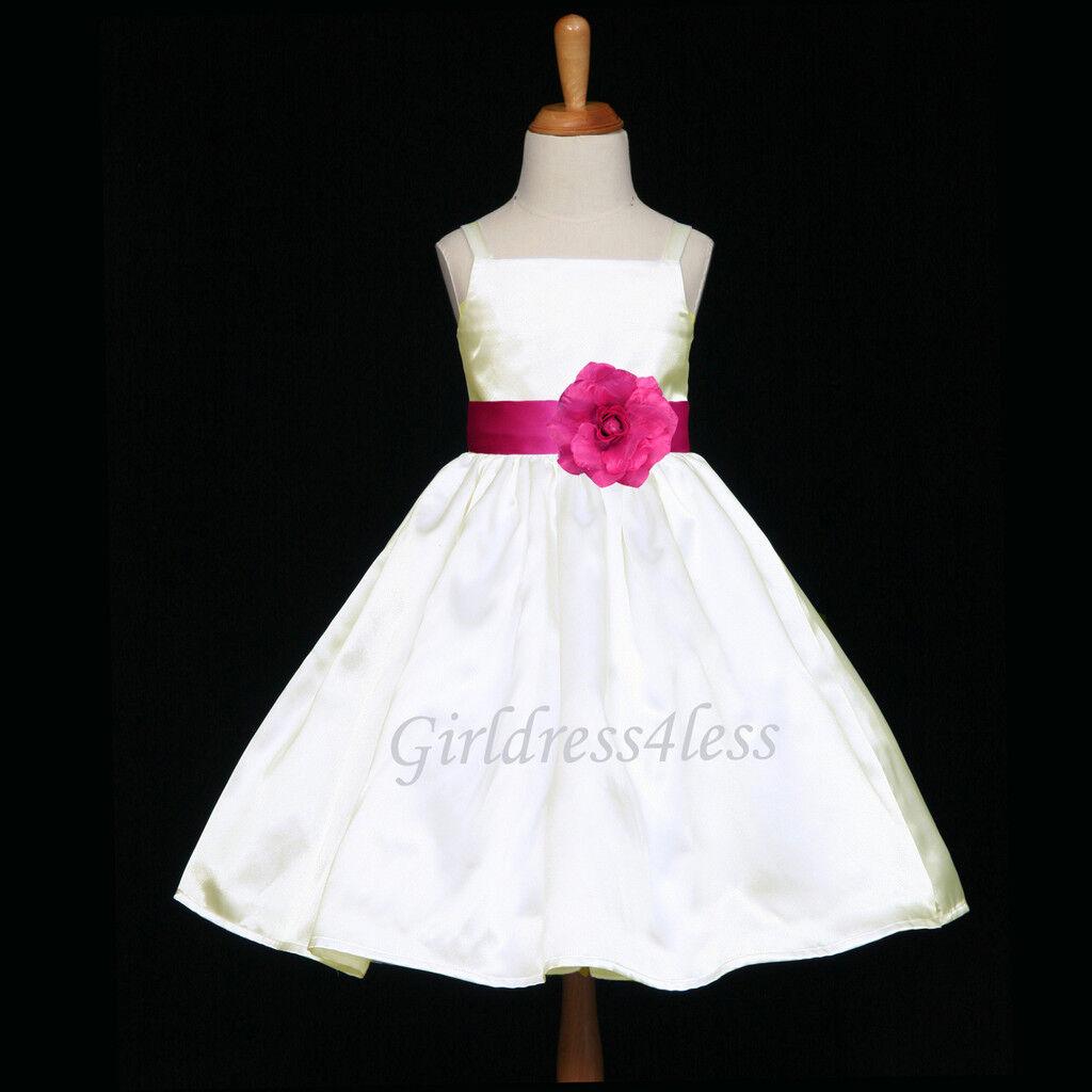 Ivoryfuchsia Hot Pink Wedding Party Baby Flower Girl Dress 12m 22t