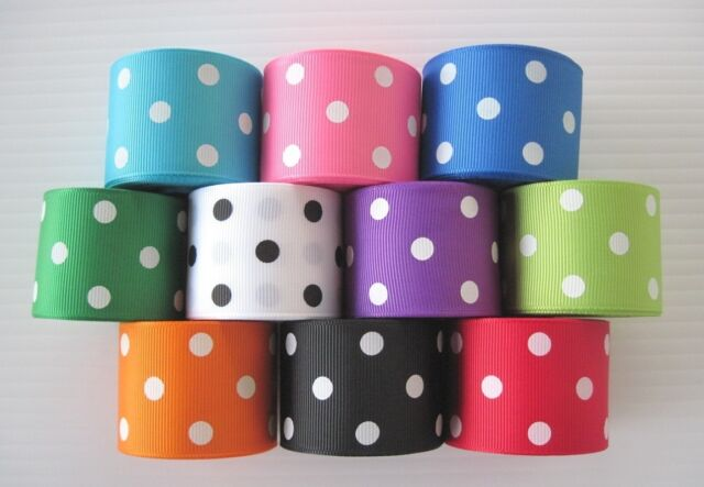 "1.5"" Grosgrain Ribbon POLKA DOTS~Lot of 5 yards~You pick the color"