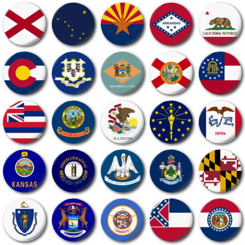 """USA STATE FLAGS (A to M) 25mm, 1"""" Button Badge, American, Florida, California"""
