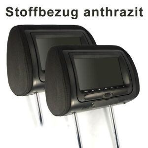 KS7DK-fuer-BMW-2x-7-034-digital-LCD-TFT-Kopfstuetzen-Monitor-mit-DVD-Anthrazit-Stoff