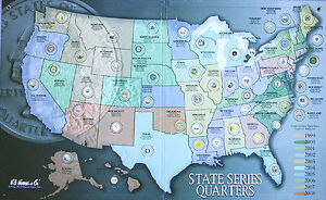 State-Quarter-Series-Map-Set-With-56-Uncirculated-P-Mint-Quarters-1999-2009