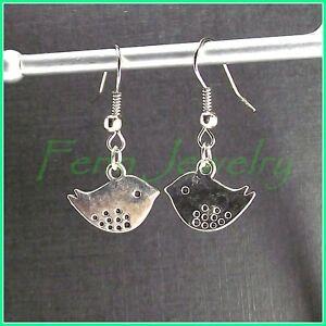 Silver-Plated-Cute-Sparrow-Dangle-Earrings