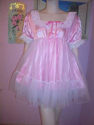 PRETTY PINK  SATIN/ SHEER  SISSY DRESS   SIZE 1X