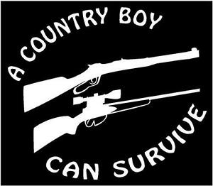 WHITE Vinyl Decal A Country Boy Can Survive Truck Fun Sticker - Country boy decals for trucks