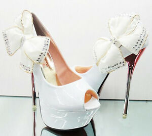Glitter-Classics-Princess-Pretty-Party-Wedding-Shoes-Bow-Knot-Super-High-Heels