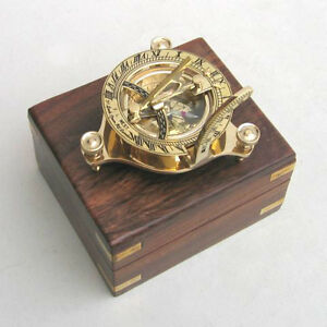 NAUTICAL-BRASS-SUNDIAL-COMPASS-w-Box-COLLECTIBLE-MARINE-GIFT-VINTAGE-PROP