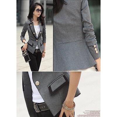 Women Lady Blazer Jacket One Button Slim Ladies OL Casual Suit Coat Outerwear TH