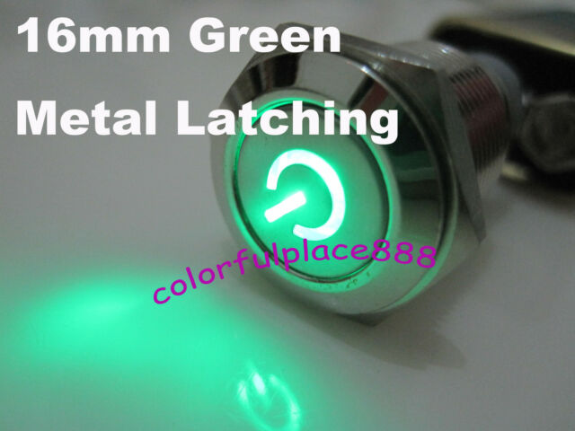 1, 16mm 12V GREEN Led Lighted Push Button Metal ON-OFF Switch For Car Boat Motor