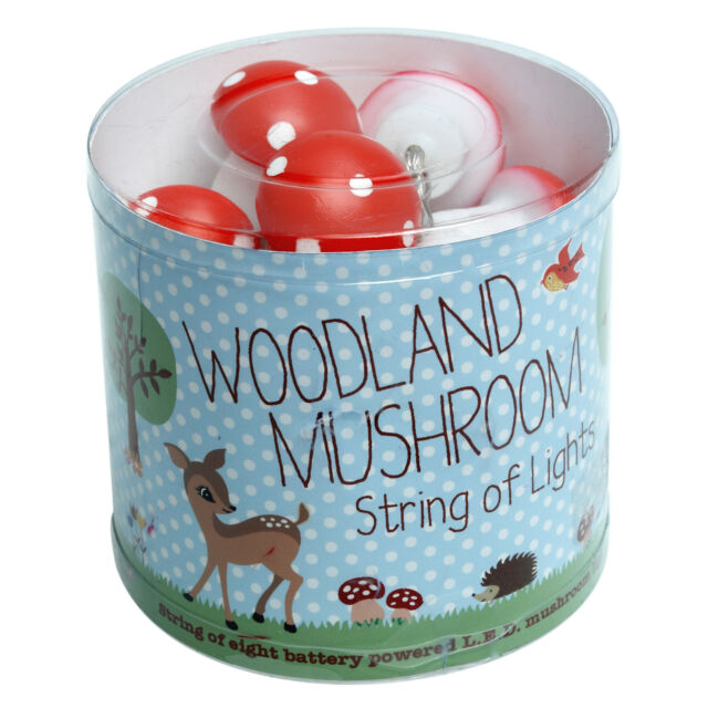 dotcomgiftshop STRING OF EIGHT BATTERY POWERED RED LED MUSHROOMS MINI LIGHTS