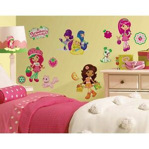 39-STRAWBERRY-SHORTCAKE-WALL-STICKERS-Girls-Room-Decals-Pink-Decorations-Decor