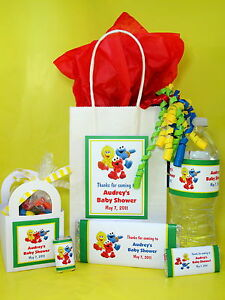 sesame street baby shower pdf cd invitation favor gum wrappers banner