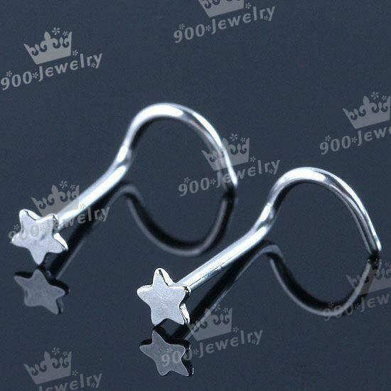 10x Stainless Steel Star Twisty Screw 20G Nose Ring Body Piercing Fashion Jewel