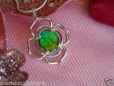"12x10 Ammolite & S/S Slide Pendant On 18"" Sterling Silver Snake Chain Beautiful"