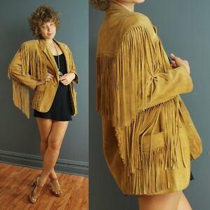 Vintage-80s-M-L-beige-suede-leather-FRINGE-vaquero-hippie-blazer-jacket-coat