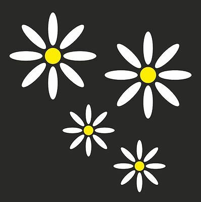 4 x Daisy Flower set Car Motorbike Vinyl Sticker JDM RAT Decal Funny Graphics