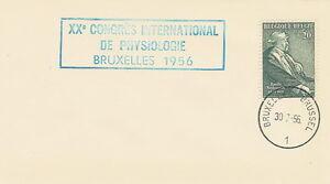Belgium postmark - XX Congres Intern. de Physiologie Bruxelles 1956 - Bystra Slaska, Polska - Belgium postmark - XX Congres Intern. de Physiologie Bruxelles 1956 - Bystra Slaska, Polska