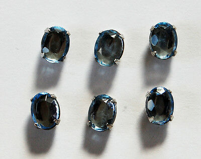 VINTAGE LIGHT SAPPHIRE GLASS OVAL SEW ON GEM BEAD EMBELLISHMENT • 8x6mm
